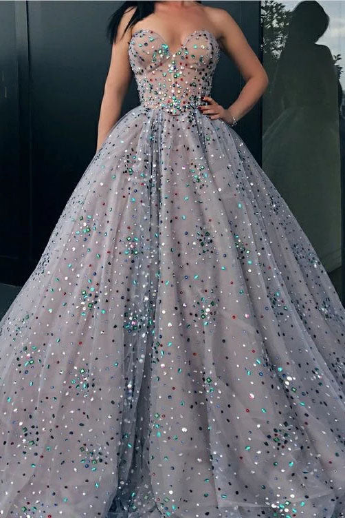 Princess Strapless Sweetheart Beads Ball Gown Rhinestone Prom Dress with Long Sparkly P1229