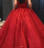 Sparkly Ball Gown Burgundy Strapless Sweetheart Prom Dresses, Long Quinceanera Dresses P1384