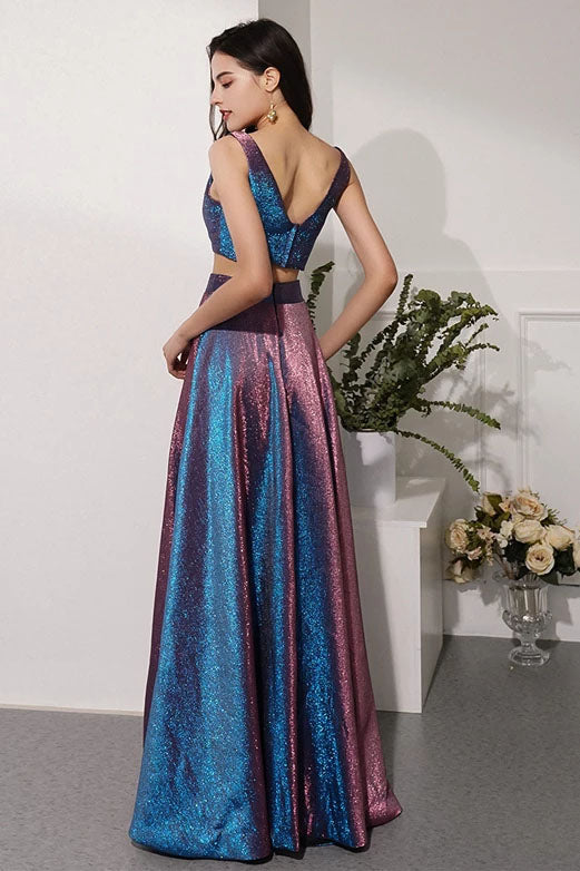 Two Pieces V Neck Straps V Back Floor Length Prom Dresses Long Party Dresses P1201