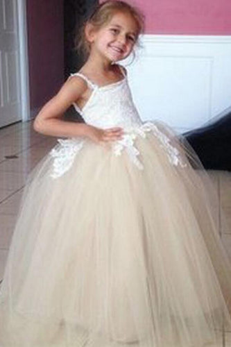 Tulle Applique Spaghetti Straps Backless Flower Girl Dresses, Lovely Tutu Dresses PW117