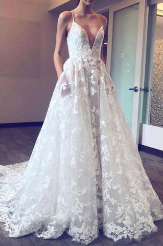 A Line Deep V Neck Lace Appliques Ball Gown Spaghetti Straps Wedding Dress with Pockets PH727