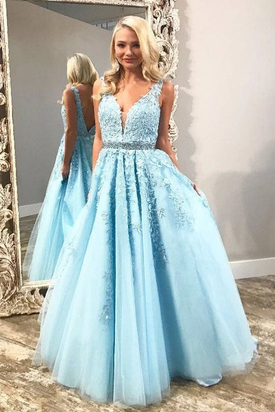 Elegant Light Sky Blue V Neck Tulle Prom Dress with Lace Appliques, Long Beads Formal Dress P1210