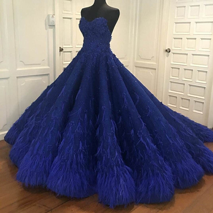 Princess Ball Gown Royal Blue Sweetheart Beads Sweet 16 Quinceanera Dresses P1446