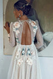 Elegant A Line Long Sleeves Embroidery Tulle Beads Prom Dresses with Open Back P1412