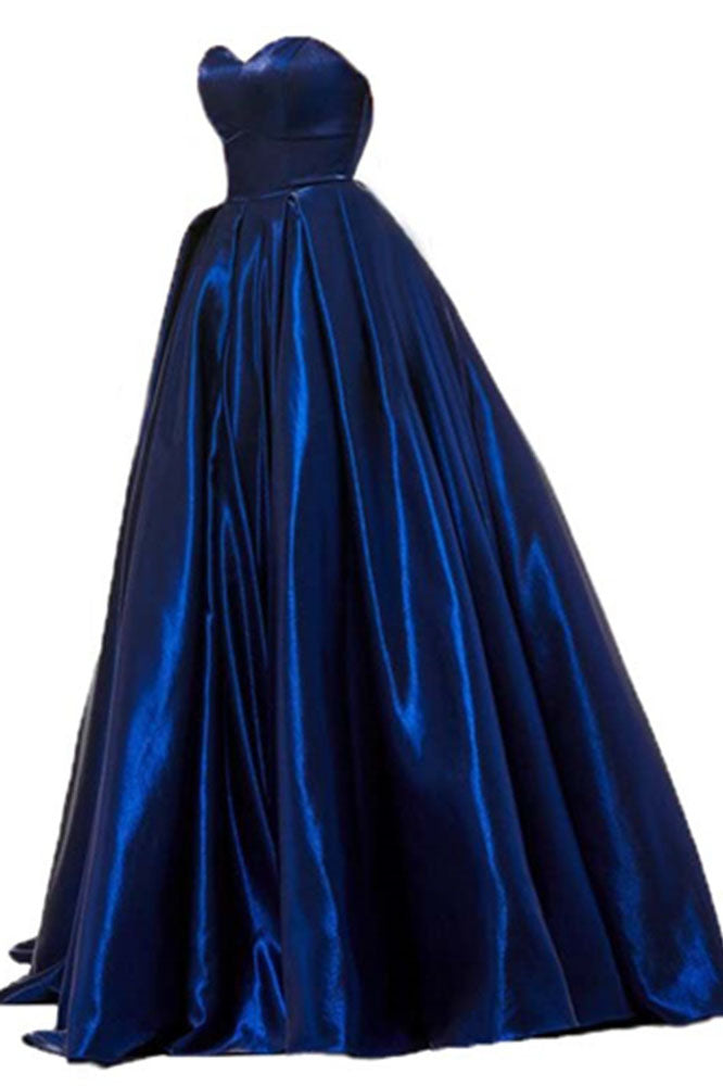 A Line Royal Blue Satin Sweetheart Strapless Prom Dresses with Pockets, Evening Dress P1425