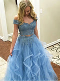 Blue Off the Shoulder Two Pieces Tulle Beads Prom Dresses with Lace Appliques P1407