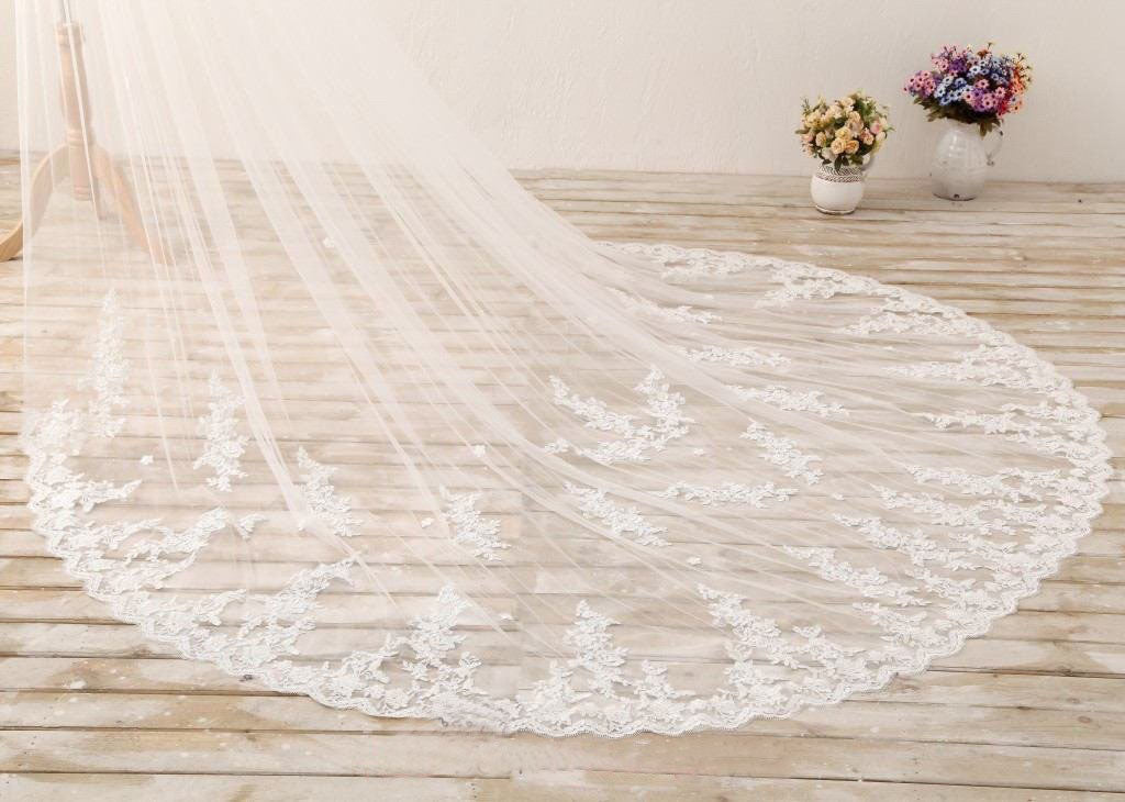 3M Long Embroidered Lace Appliques Tulle Cathedral Veil for Wedding,Wedding Veil uk PH869