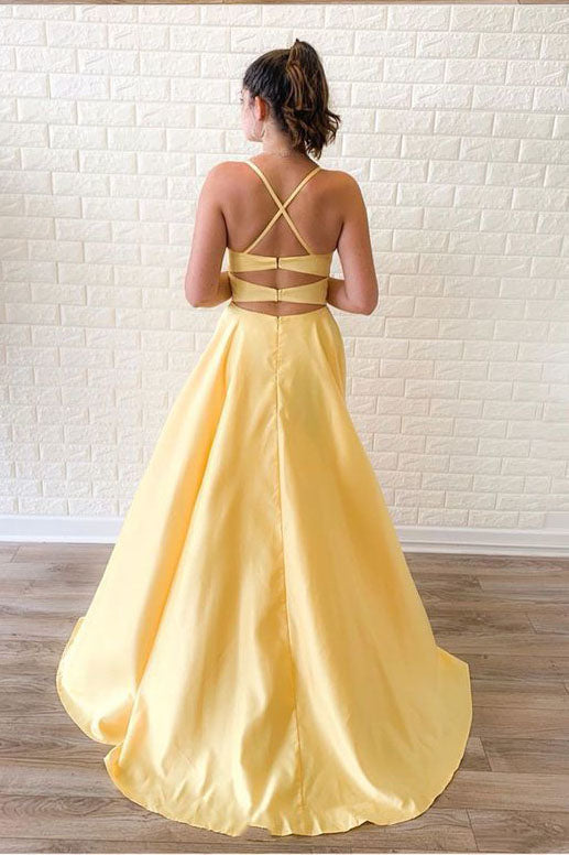Unique Satin A Line Yellow Prom Dresses, Long Cheap Dance Dresses P1530