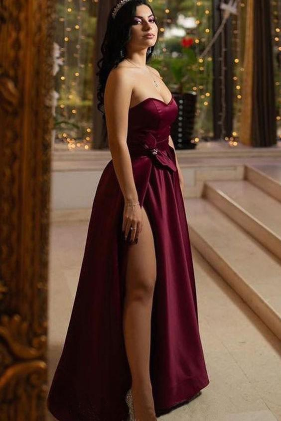 Unique A Line Burgundy Sweetheart Satin Strapless Prom Dresses, Evening Dresses P1504