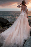 A Line Pink Long Sleeves Round Neck Tulle Wedding Dresses with Appliques, Wedding Gowns W1203