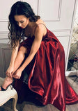 Shiny Spaghetti Straps Burgundy V neck Satin Prom Dresses, Cheap Dance Dresses P1522