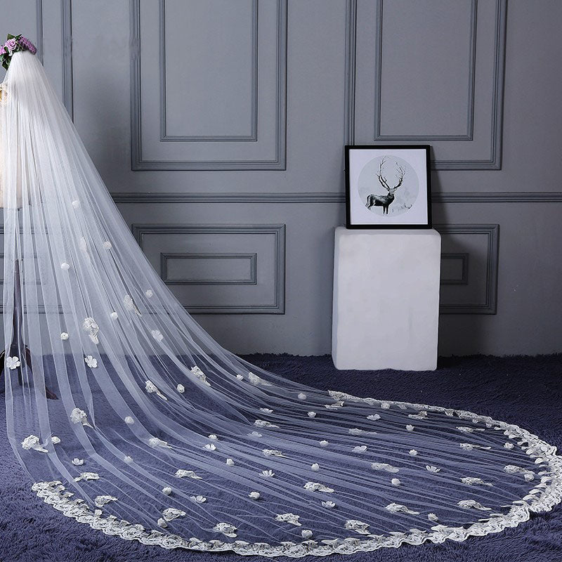 3M Tulle Ivory Wedding Veils with Appliques, Fashion Hand Made Flowers Wedding Veils W1238