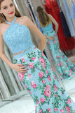 Elegant Mermaid Halter Two Pieces Blue Floral Prom Dresses, Beads Evening Dresses P1289