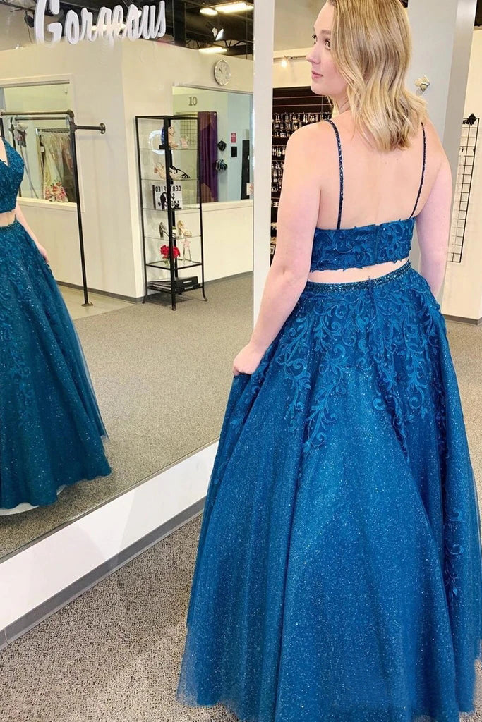 Sparkly Two Pieces Mykonos Blue Appliques Spaghetti Straps Prom Dresses P1481