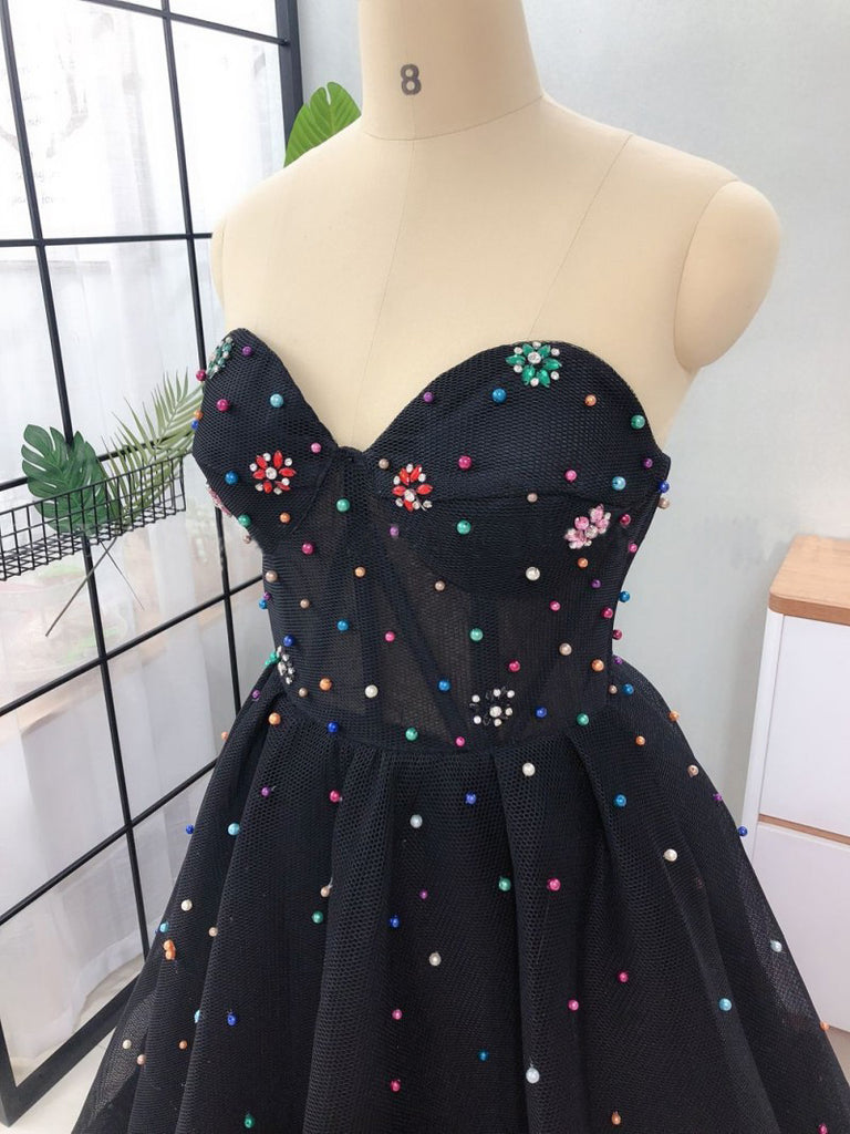 Elegant A Line Sweetheart Strapless Black Tulle Prom Dresses with Beading P1442