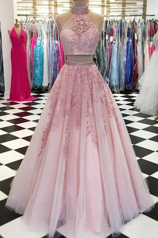 Elegant A Line Two Piece Dusty Rose Beaded Tulle High Neck Lace Long Prom Dresses uk PH864