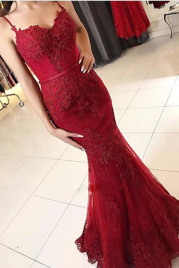 Cheap Red Spaghetti Straps Sweetheart Mermaid With Lace Appliques Prom Dresses uk PW121
