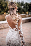 Mermaid Lace Appliques Long Sleeve See though Tulle Wedding Dresses, Beach Wedding Gowns W1198