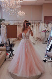 Charming Ball Gown Pink Tulle Lace Appliques V neck Prom Dresses, Party Dresses P1569