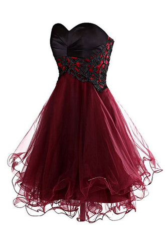 Lovely Cute Appliques Burgundy Sweetheart Organza Lace up Short Homecoming Dress PH689