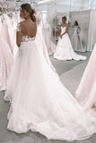 Elegant Ball Gown Ivory Tulle Wedding Dresses with Appliques, Wedding Gowns W1180