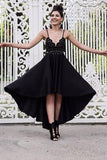 A Line Black V neck Short High Low Spaghetti Straps Prom Dresses, Homecoming Dress PH692