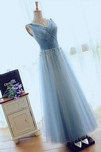 A-line V-neck Floor-length Tulle with Beading Prom Dresses Evening Dresses