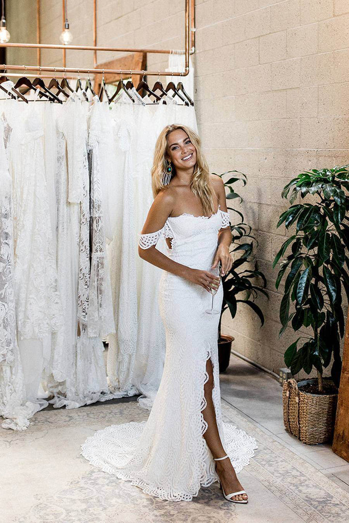 Princess Off the Shoulder Lace Off White Sweetheart Wedding Dresses with Side Slit W1124