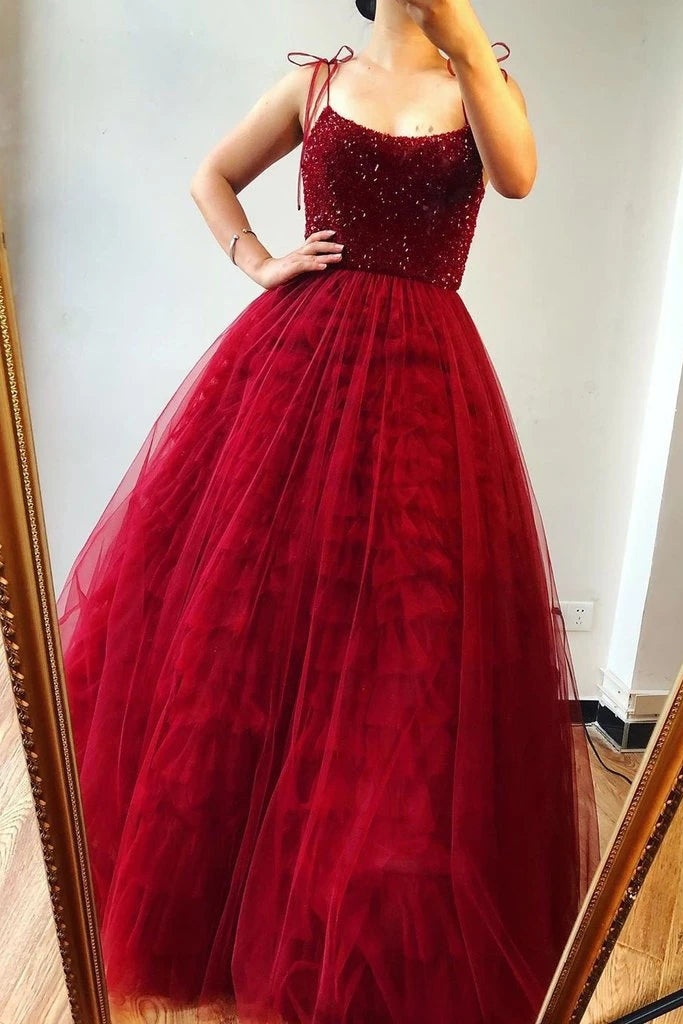 A-Line Burgundy Tulle Beaded Spaghetti Straps Scoop Long Prom Dresses P1460