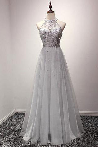 A-line Halter Sequins Tulle Floor Length Prom Dresses Evening Dresses