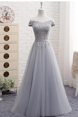 Cute A line Gray Lace Off Shoulder Lace-up Prom Dress with Appliques,Graduation Dresses,PM105