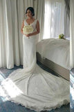 Shinny V-neck Sleeveless Mermaid Lace Beaded Wedding Dresses,WD21