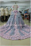 Pretty Light Blue Ball Gown Long Backless Wedding Gowns,Quinceanera Dresses pm01