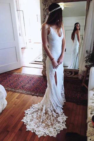 Romantic Boho Backless Lace Mermaid Elegant Ivory Wedding Dresses UK PH379