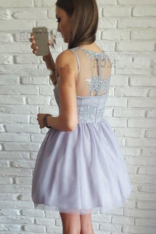 7af96bc5b00 A-Line V-Neck Short Lilac Above Knee Tulle Appliques Homecoming Dress with  Lace