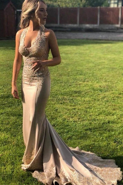 Elegant V Neck Halter Mermaid Appliques Prom Dresses with Beadding, Backless Party Dress P1355