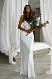 Elegant Mermaid Cowl Neckline White Simple Wedding Dresses, Spaghetti Straps Bridal Dress W1172