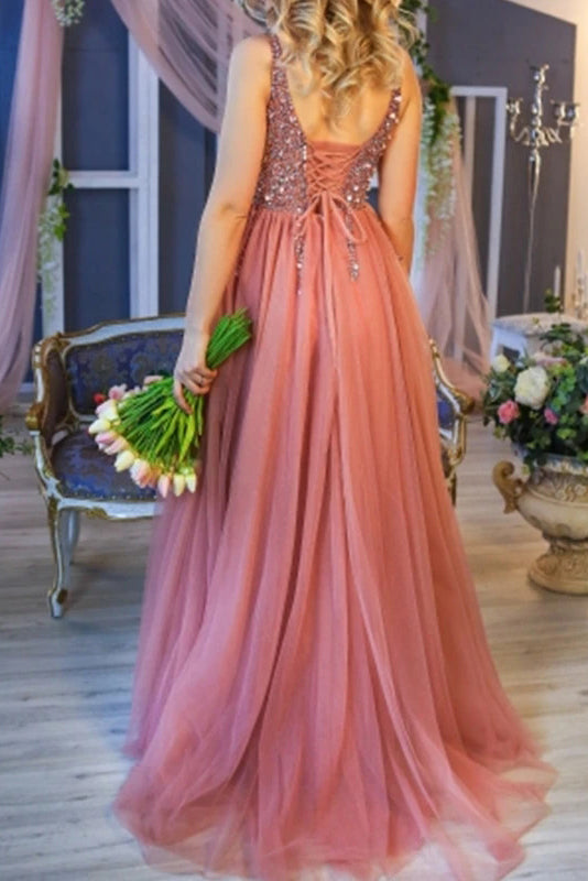 Princess A line V Neck Tulle Beads Sequins Prom Dresses with Lace up, Dance Dresses P1502