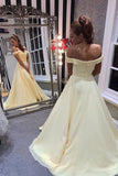 A Line Off the Shoulder Sweetheart Yellow Prom Dresses, Long Formal Dresses P1431