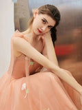 Cute Tea Length A Line Pink Short Prom Dress Sweet 16 Dresses with Hand Made Flower P1330