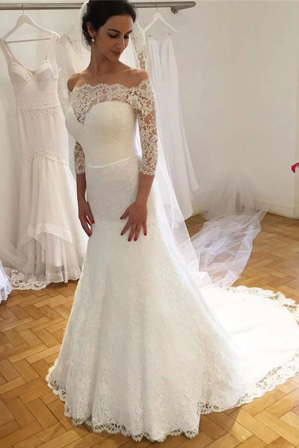 Unique Mermaid Off the Shoulder Ivory Lace 3/4 Sleeves Wedding Dresses, Wedding Gowns W1192