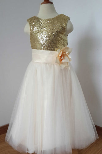 Gold Sequin Cream Tulle Ivory Scoop Flower Girl Dress with Flower, Dress for Wedding Party PH775