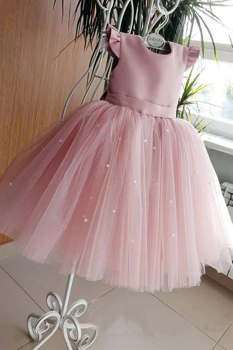 Lovely Pretty Pink Round Neck Tulle Flower Girl Dresses, Cheap Wedding Little Girl FC1020