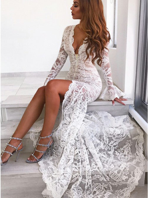 Long Sleeves Mermaid Lace V Neck Wedding Dresses with Slit, Wedding Gowns W1249
