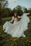Charming Long Sleeves Lace V Neck Bohemian Backless Beach Wedding Dresses W1256