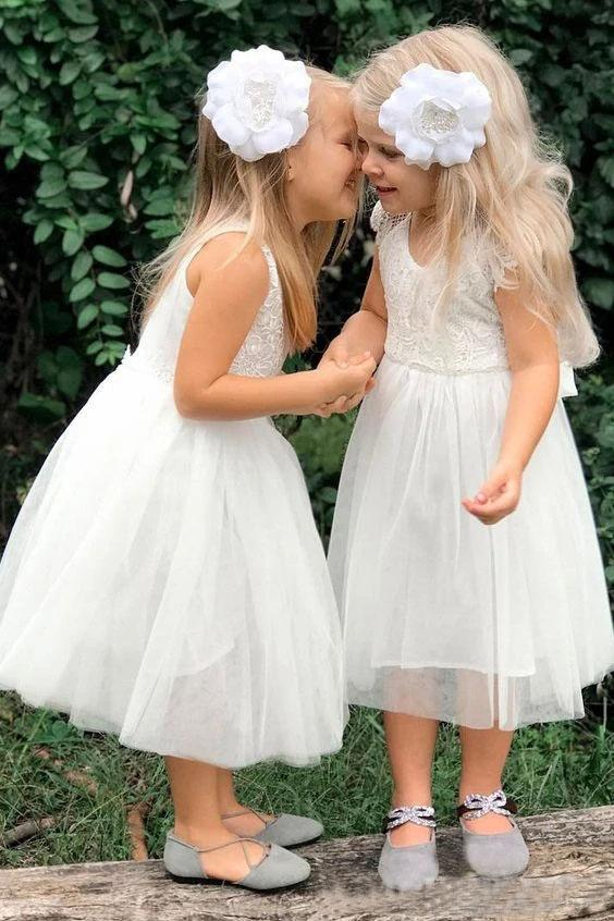 Cute A Line Lace Round Neck White Flower Girl Dresses with Tulle, Baby Dresses FG1017