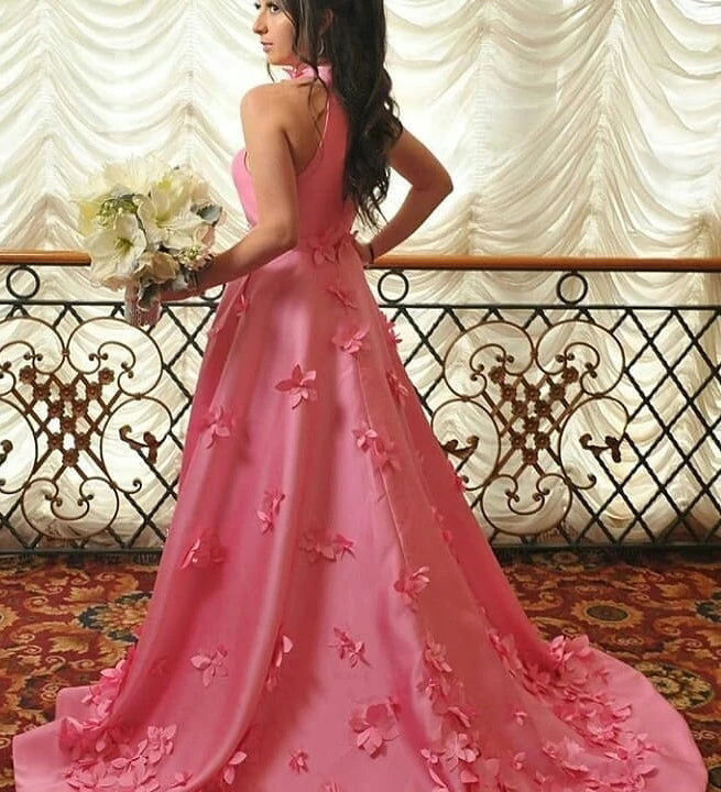 A-line Halter Light Plum Prom Dresses With Handmade Flowers, Open Back Evening Dresses P1301