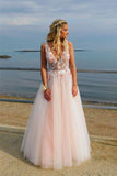 Elegant Deep V Neck Backless Long Pink Prom Dress with Appliques Beading, Party Dress P1347