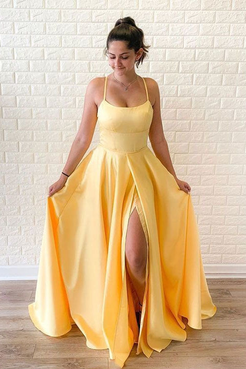 Unique Satin A Line Yellow Prom Dresses, Long Cheap Dance Dresses P1524