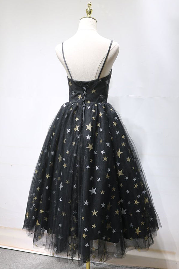 Unique Black Star Printed Tulle Open Back Short Prom Dress, Cocktail Dress P1552
